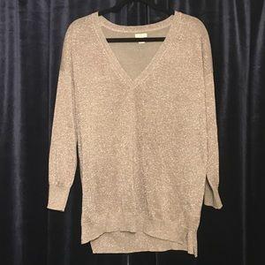 J. Crew Glitter Thread V Neck Sweater